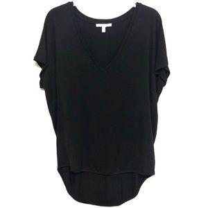 Express Black V-Neck Tee w/ Long Back [Medium]